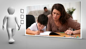 Clip of mother and child doing homework together stock video footage