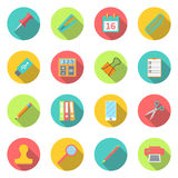 Clip set. Collection office supplies. set color icons with long shadow. stationery set symbol and object. Flat design modern, for web and mobile applications, of Stock Photo
