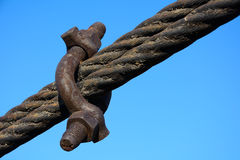 Clip on steel ropes Stock Photo