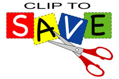 Clip to save. A coupon clip to save oriented image Royalty Free Stock Photos