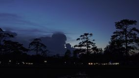 Twilight and lightning around camping on Phukardueng Nation Park stock footage