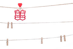 Clip on a  twine , hanging chinese wedding auspicious word, Cong Royalty Free Stock Image