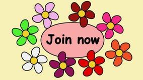 Clip Video-4k annoncierend mit der Aufschrift, verbinden Sie jetzt Fliegende Blumen um Text verbinden jetzt stock abbildung