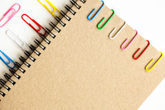 Clip y cuaderno Fotos de archivo libres de regalías