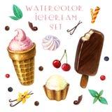 Clipart мороженого акварели установило с ягодами, плодами и листьями мяты бесплатная иллюстрация