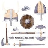Clipart нарисованное рукой акварели иллюстрации мальчика Викинги установило isola бесплатная иллюстрация