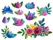 Clipart abstrato do vetor das flores da aquarela Fotos de Stock Royalty Free
