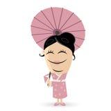 Clipart asiático feliz de la mujer ilustración del vector