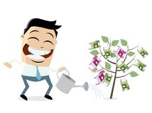 Businessman watering a money tree. Clipart of an asian businessman watering a money tree Stock Photos