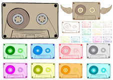 Clipart audio cassette. Clipart with a set of multi-colored audio cassettes and with wings Stock Images