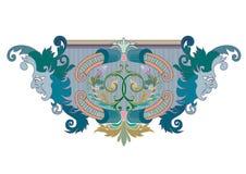Clipart av den blå, grön och koralldesignprydnaden med maskeringar vektor illustrationer