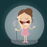 Clipart av en sjungande flicka Royaltyfria Bilder