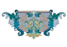 Clipart of Blue, green and coral Design Ornament with masks vector illustration
