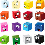 Clipart Boxes with Funny Faces. Many different colored boxes with funny cartoon faces Stock Photos