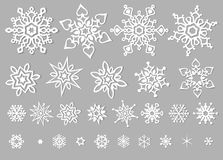 Clipart branco do vetor dos flocos de neve Fotografia de Stock