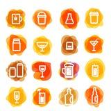 Clipart branco dos ícones da bebida em manchas da cor ilustração do vetor