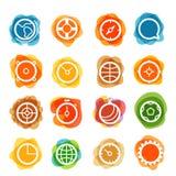 Clipart branco dos ícones do círculo em manchas da cor ilustração royalty free