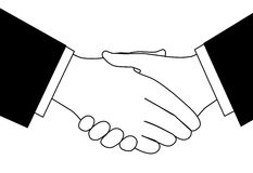 Clipart business deal handshake in black and white. Handshake clipart sketch of business people shaking hands to meet or agree on a deal Royalty Free Stock Images