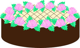 Clipart cake. Cake with chocolate cream, cake with beige cream, with pink flowers, cake with roses and green leaves, beautiful cake, illustration for the holiday Stock Images