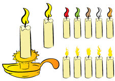 Clipart with candles. Clipart with various color candles with fire Stock Photo
