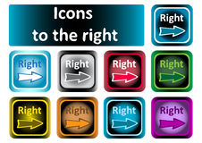 Clipart color icons to the right Stock Photos