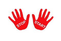 Clipart of Colorful hands with words start and stop. Stock Photography