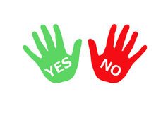 Clipart of Colorful hands with words yes and no. Stock Images