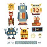 Clipart colorido del vector fijado con los robots retros Fotos de archivo libres de regalías