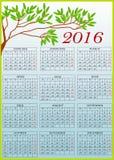 Clipart com calendário 2016 Fotos de Stock