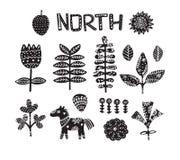 Clipart con il cavallo, i fiori e gli elementi disegnati a mano Struttura del ` s dei bambini Grande per tessuto, illustrazione d Fotografia Stock
