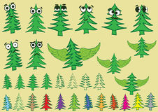 Clipart with creative fir-trees Stock Images