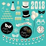 clipart d'argento 2018 di vigilia dei nuovi anni di scintillio Fotografia Stock