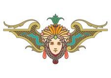 Clipart de corail, de rouge, de sarcelle d'hiver et d'ornement brun de conception avec le visage illustration stock