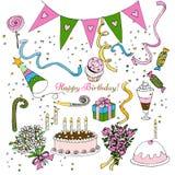 Clipart de la fiesta de cumpleaños del drenaje de la mano, decoración aislada del diseño de sistema del garabato stock de ilustración