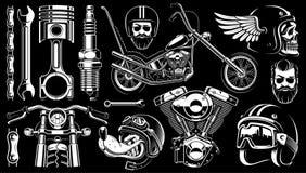 Clipart de la motocicleta con 14 elementos en fondo oscuro Imagenes de archivo