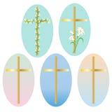 Clipart de los iconos de la cruz del oro de Pascua ilustración del vector