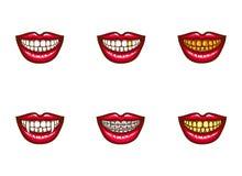 Clipart de los labios femeninos rojos para el diseño dental ilustración del vector