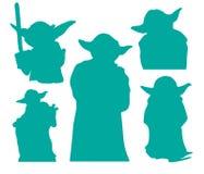 Clipart de vecteur des silhouettes ENV de Star Wars de Yoda coupant des dossiers illustration stock