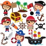 Clipart dei bambini dei pirati Fotografie Stock
