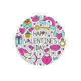 Clipart dei simboli del San Valentino per le cartoline illustrazione di stock