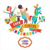 Clipart del circo Los artistas del circo y una diversión entrenaron al caballo libre illustration