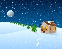 Clipart del fumetto di Natale - paesaggio di inverno Immagini Stock Libere da Diritti