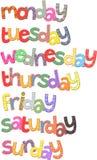 Clipart del testo di giorni di settimana illustrazione di stock