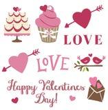 Clipart di giorno di biglietti di S. Valentino su bianco Fotografie Stock Libere da Diritti