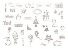 Clipart di scarabocchio di compleanno Immagini Stock