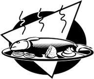 Clipart di vettore del fumetto del vassoio del pesce Fotografia Stock Libera da Diritti
