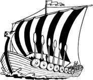 Clipart di vettore del fumetto di Viking Sailboat Fotografie Stock