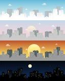 Clipart di vettore della città dell'orizzonte di notte e di giorno Immagini Stock
