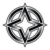 Clipart di vettore di ellisse del cerchio della stella di quattro punti Immagine Stock