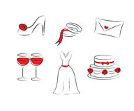 Clipart do casamento Fotos de Stock Royalty Free